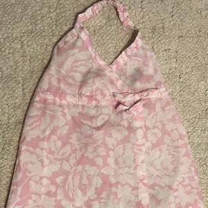 🌺Hawaiian Style Halter Wrap Dress Pink White 9-12